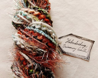 Northwesterly blue pine green brown copper tinsel twine mix Novelty Fiber Yarn Sampler Bundle