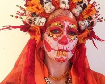 Day of the Dead , Orange  Headdress