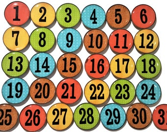 Large Teacher magnets, Student Numbers, Calendar number magnets, rainbow numbers, classroom supplies, office supplies, student magnets
