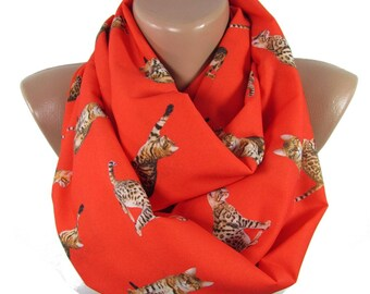 Cat Scarf Pet Gift  Bengal Cat Scarf Infinity Scarf Red Scarf Gift For Pet Lover Gift For Cat  For Cat Lover Gift Gift For Women Women Scarf