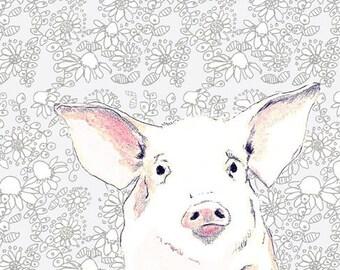 Pig Art Print - Kids Decor -Love Me Some Pig With Wallpaper Background - Nursery Art - Kids Room Art