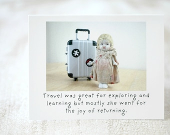 """Funny Travel Card """"Returning"""" Adventures Claudia Porcelain Doll Stationary (1)"""