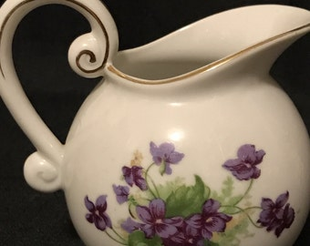 Vintage Lefton China Creamer with Purple Violets, Beautiful Flowers Painted on Side, Lovely Pitcher, Cottage Chic,
