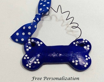 Personalized Dog Ornament, Custom Dog Bone Christmas Ornament, Pet Lover Gift