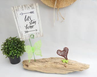 Picture Driftwood - deco Green Butterfly - deco greenery - decor-mothers day