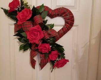 Heart with half dozen red roses cemetery or door piece
