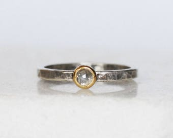 Ready to Ship in Size 6.5 - Silvery Gray Rose Cut Diamond Ring - 18k Gold and Silver Stack Ring - Silver Diamond