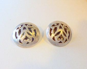 Vintage Silver Plate Cut Out Clip Earrings circa 1950-60  Free Shipping in USA