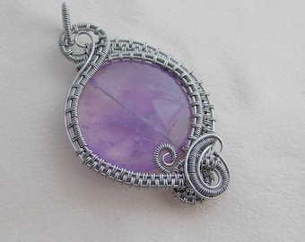 Lavender Amethyst Quartz Large Coin bead Pendant Amulet Wire Wrapped in Titanium Silver Parawire Wire Jewelry Handmade Boho Renaissance