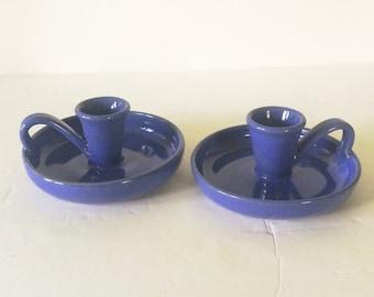 Blue Laura Teague Potluck 1981 Candlestick Holders