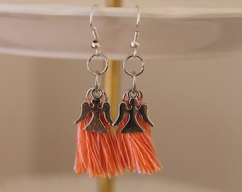 Angel earrings - women - tassel earrings - designer jewelry earrings - fairy - silver dangle earrings