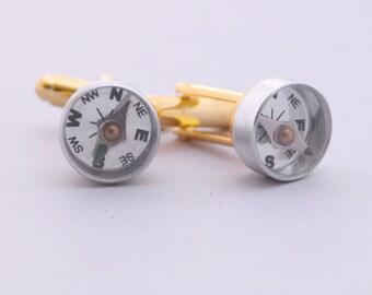 Gold or Silver Compass Cufflinks, Wearable Tech Gift, Steampunk Cufflinks, Nautical Cufflinks, Men's Accessory, WWII Compass, Beach Wedding