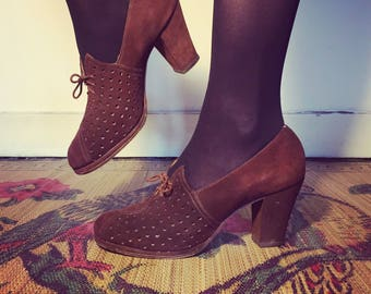 Vintage 30s 40s Brown Suede Oxford Shoes