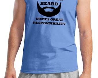 Men's Funny Tanktop Great Beard Comes Great Responsibility Tank Top BEARD-2200