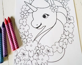 Unicorn Birthday Party Activity - Unicorn Coloring-In Page - Rainbow Labels - Instant Download and Edit at home with Adobe Reader