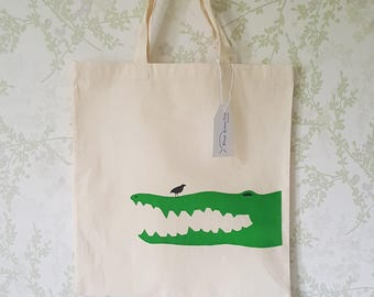 Crocodile Hand Screen Printed Cotton Tote Bag