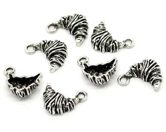 Small Crescent (x 4) antique silver metal charm
