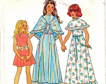 Simplicity 7413 Girl's Cape Dress, Floor Length Dress, High Collar Dress, Triangle Ruffle Shawl Sewing Pattern Size 8 Vintage 1970's
