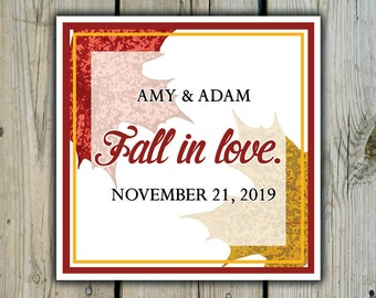 Square Custom Autumn Leaves Favor Labels / Stickers - Personalized Autumn Wedding Favor Stickers / Shower Labels - Fall Wedding Stickers