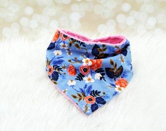 Bandana Bib Girl Minky Bandana Bib (PERIWINKLE FLEUR) - reversible bandana bib, minky bib, minky bibdana, baby shower gift, soft bibdana