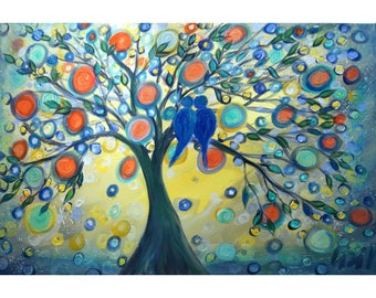 Blue Birds Painting Whimsical Tree Landscape Whimsy 36x24 canvas