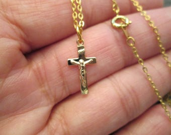 """Small Gold CRUCIFIX with 18"""" chain> 1970's vintage> new old stock>>nice detail>> Small and Dainty"""