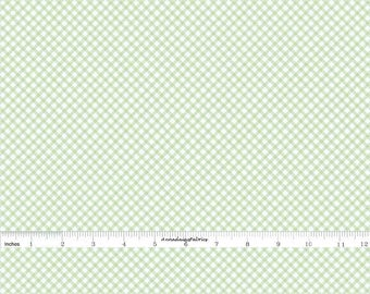Mint Green Gingham Fabric, Penny Rose Bunnies & Cream C6025, Green and Off White Check Quilt Fabric, Bias Gingham Check, Lauren Nash, Cotton