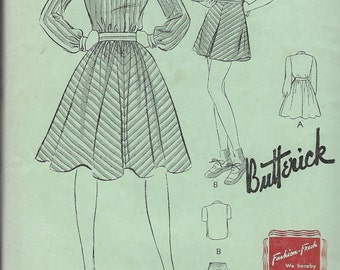 """Vintage 1940's Butterick 9391 Juniors and Girl's Three- Piece Outfit Skirt, Blouse  & Shorts Sewing Pattern Size 14 Breast 32"""""""