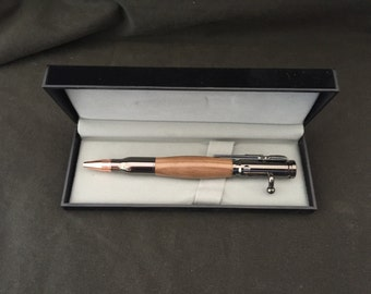30 Caliber Grey bolt action bullet pen hand made with Ancient Irish Bog Pine