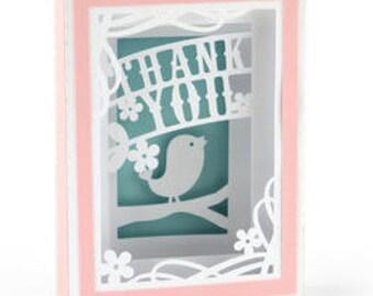 Thank you Box Card , PaperCut , Folds Flat , Family , Friends , Bird , Flowers , Pink , Spring , Summer