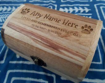 Varnished Memorial Wooden Pet Urn Casket Keepsake Cremation Ashes Cat Dog Ash Box Personalized and Bespoke