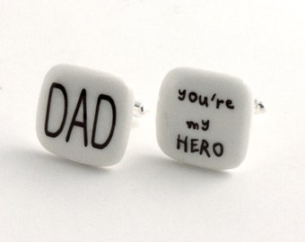 Dad Cuff links Porcelain Hero Father Day Gift Present Christmas Handmade White Brown