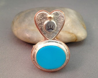 On Sale Turquoise Copper Sterling 14kt Gold Heart Southwestern Ring