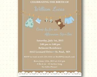 Sip and See Invitation, boy, baby, sip n see, shower, invite, party, brown, bear, sprinkle, digital, printable, invitation SS71742