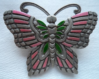 Vintage Signed JJ  Silver pewter Pink/Green Butterfly Brooch/Pin