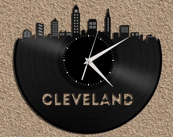 Kitchen Clock, Kitchen Wall Clock, Unique City Skyline Clock, Travel Homesick Gift Idea, Vinyl Record Modern Art, Kitchen Wall Decor