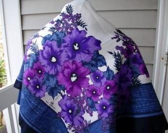 SALE Vintage Large Scarf Shawl Blue Purple White Black Graphic Floral