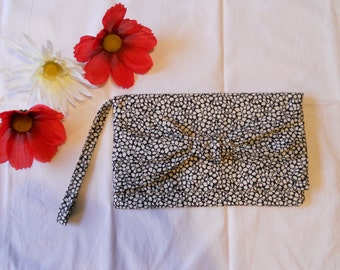 SALE - Knot Clutch - Black and Cream Leaves