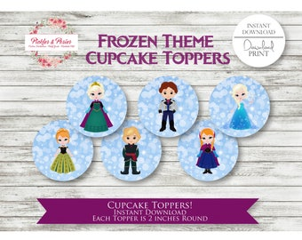 Frozen Birthday Cupcake Toppers - Frozen Party Cupcake Toppers - Frozen Party Favors - Frozen Party Supplies - INSTANT DOWNLOAD