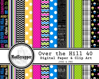 Digital Scrapbook Paper Over the Hill 40th Birthday Paper and Clip Art 12 Patterns 5 Solids 12 x 12 Instant Download
