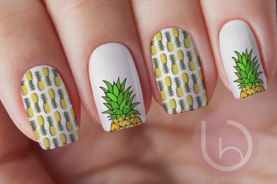 Pineapple Nail Decal Transfer, Fruit Nail Sticker, Nail Design, Nails,  Press On Nail Decal, Nail Design, Nail Art from VitaBelloVogue on Etsy  Studio - Pineapple Nail Decal Transfer, Fruit Nail Sticker, Nail Design