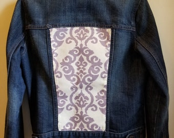 Upcycled jean jacket, denim jacket, jacket, women's jacket, Old Navy jean jacket, bohemian jacket, bobo jacket