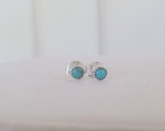 Tiny Turquoise and Sterling Dot Posts