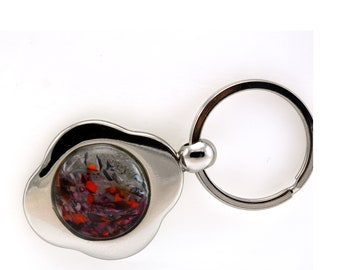 Keychain with Handmade Glass Cabachon