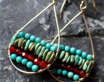 Turquoise Earrings, Southwestern Jewelry, Teardrop Hoop Earrings, Boho Jewelry, Gold Hoop Earrings, Boho Earrings