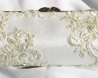 NEW Handmade Bridal Ivory Lace over White Satin Bride Wedding Clutch Purse Bridal Shower Gift