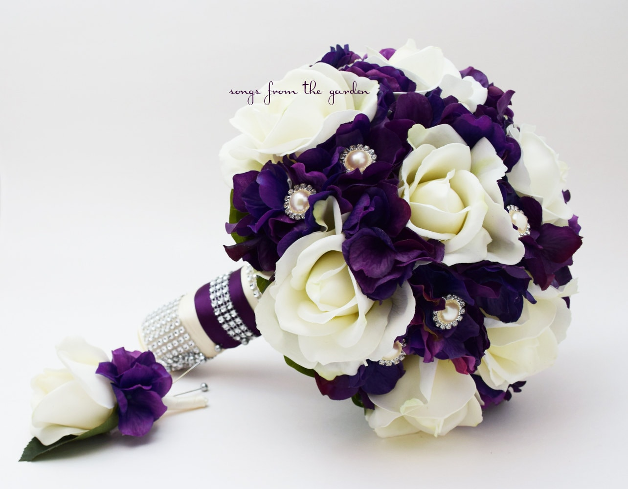 Purple & White Real Touch Rose Hydrangea Wedding Bouquet Real