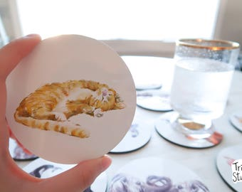 Cat Coaster - Cute Orange Tabby Kitty Simple Drinks Mat - Durable Coaster Set - Cat Lovers Coasters