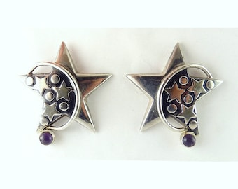 Lg Sterling Silver Puffy Star Earrings with Arc Moons & Amethyst Cabochons