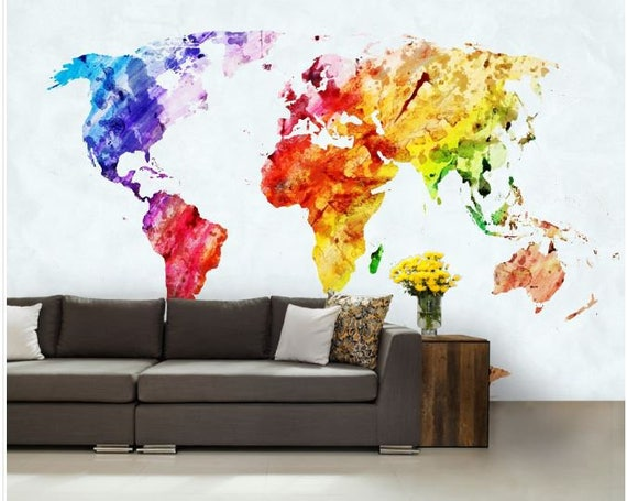 World map wall mural painting map wallpaper colorful world like this item gumiabroncs Image collections